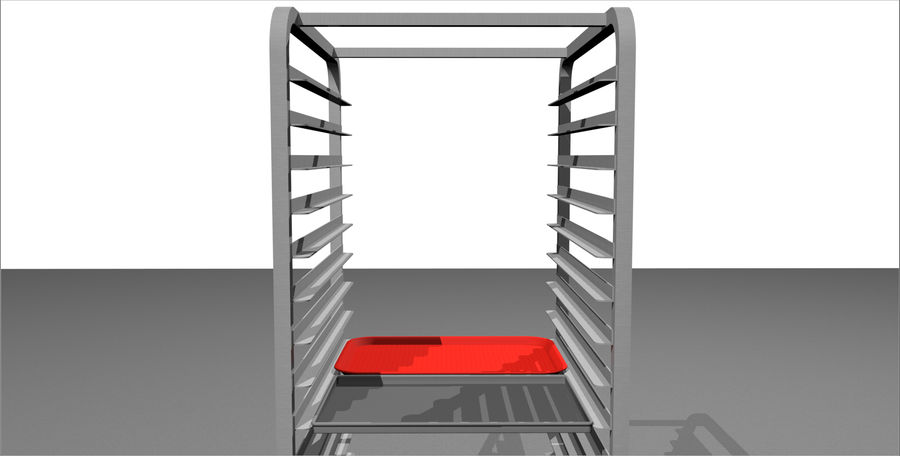 Sheet Tray Rack With Trays: Restaurant Style royalty-free 3d model - Preview no. 7