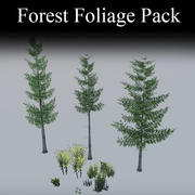 Pacote de folhagem florestal de videogame 3d model
