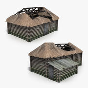 Two Old Wooden Barns 3d model
