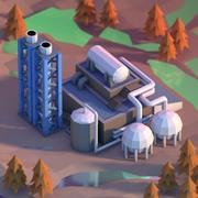 Lowpoly kemisk fabrik 3d model