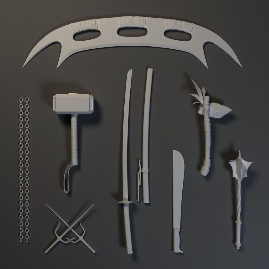 Weapons Pack - Melee 1 royalty-free 3d model - Preview no. 10