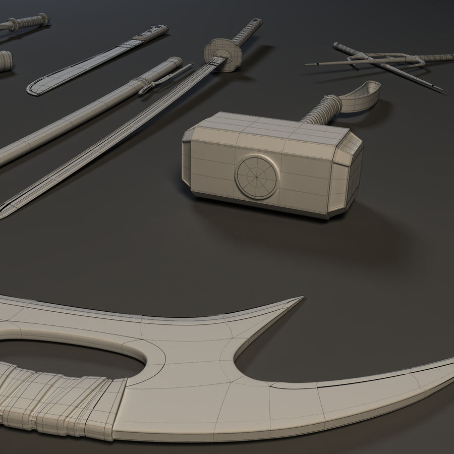 Weapons Pack - Melee 1 royalty-free 3d model - Preview no. 13