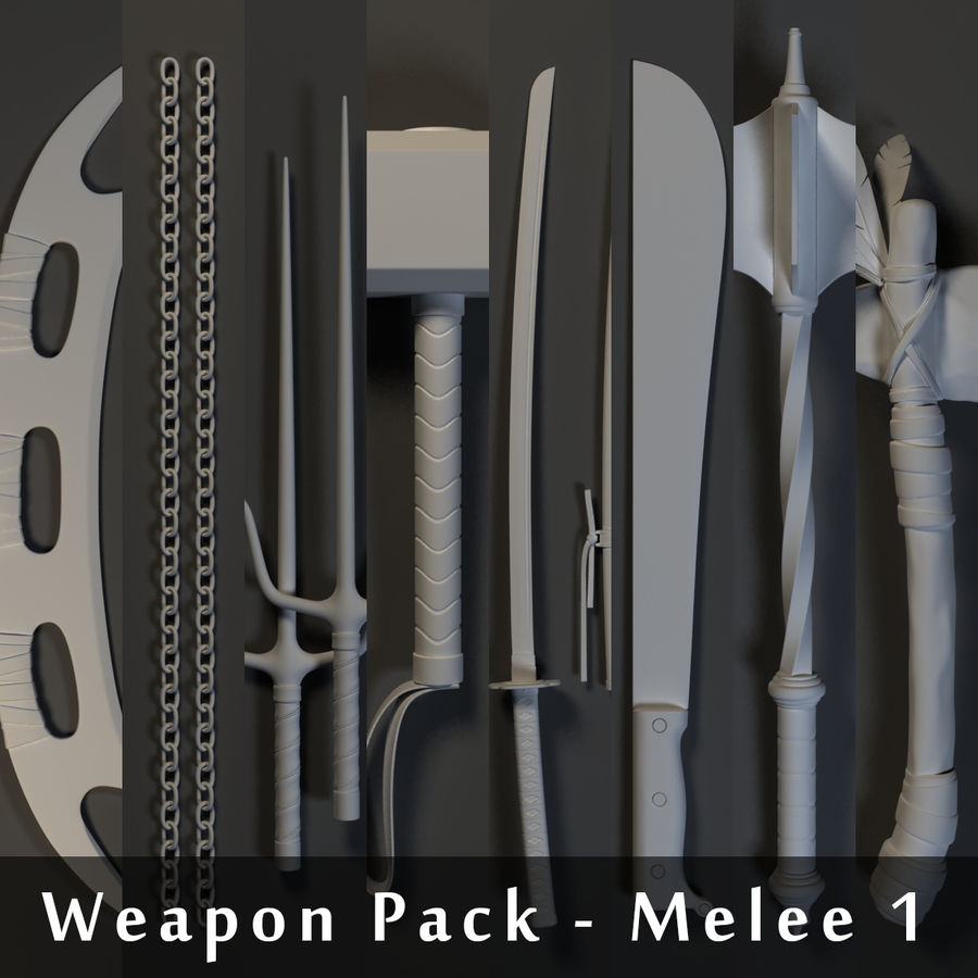 Weapons Pack - Melee 1 royalty-free 3d model - Preview no. 1