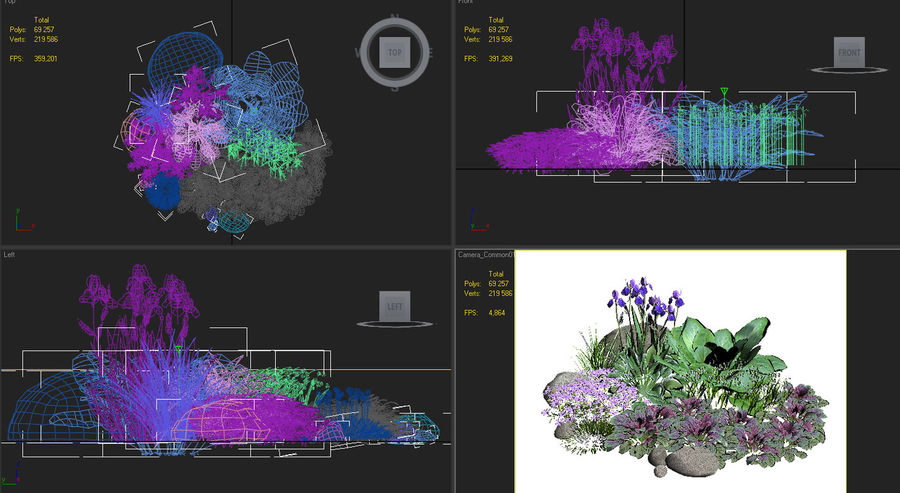 flower composition royalty-free 3d model - Preview no. 5