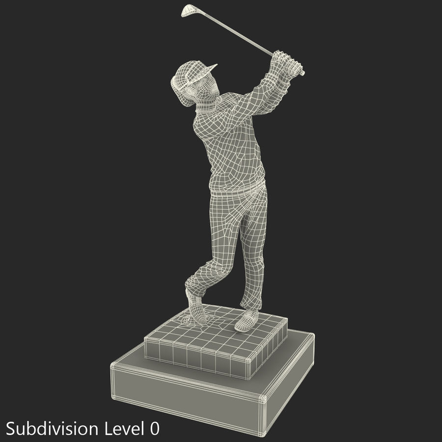 Trofeo femminile del golfista royalty-free 3d model - Preview no. 28