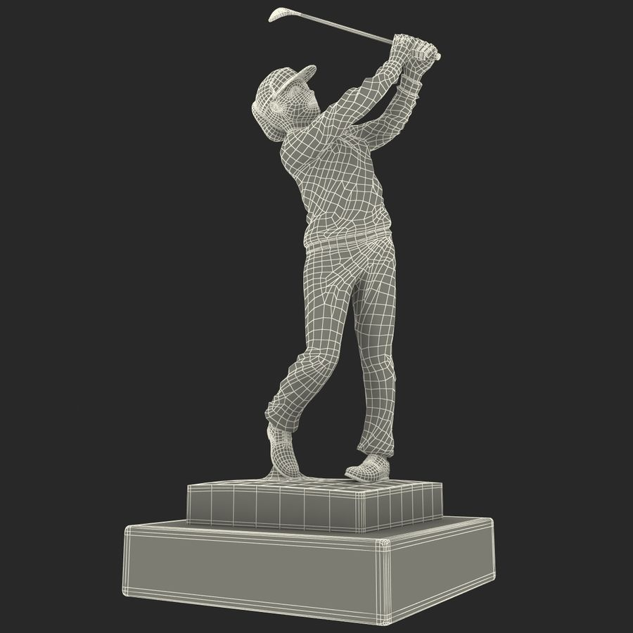 Trofeo femminile del golfista royalty-free 3d model - Preview no. 27