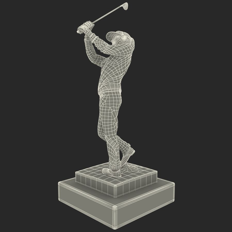 Trofeo femminile del golfista royalty-free 3d model - Preview no. 16