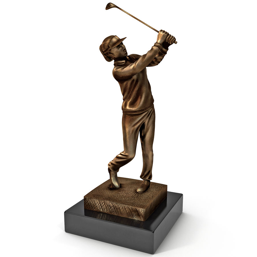 Trofeo femminile del golfista royalty-free 3d model - Preview no. 2