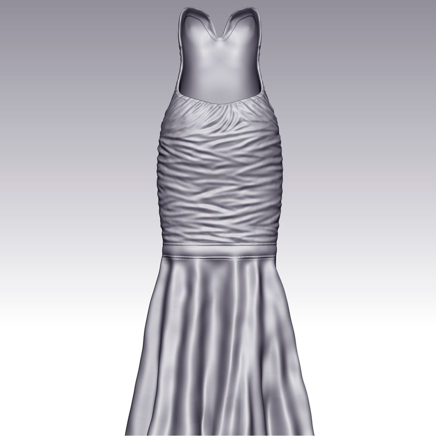 Evening Female Dress royalty-free 3d model - Preview no. 7