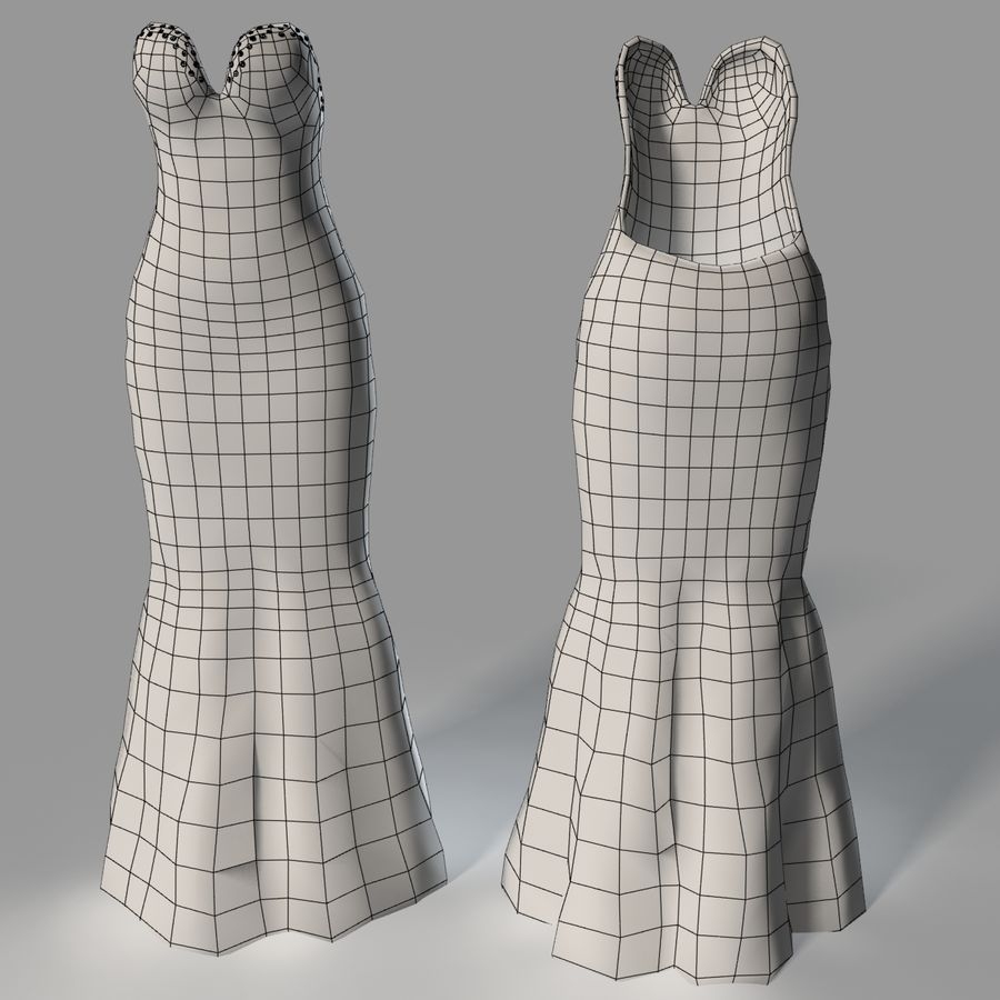 Evening Female Dress royalty-free 3d model - Preview no. 8