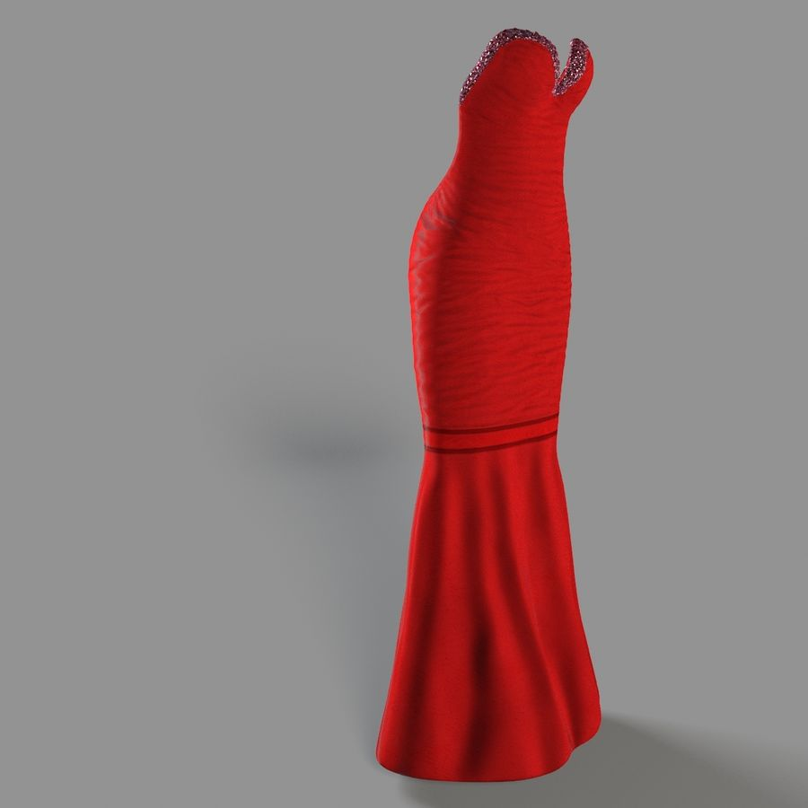 Evening Female Dress royalty-free 3d model - Preview no. 4