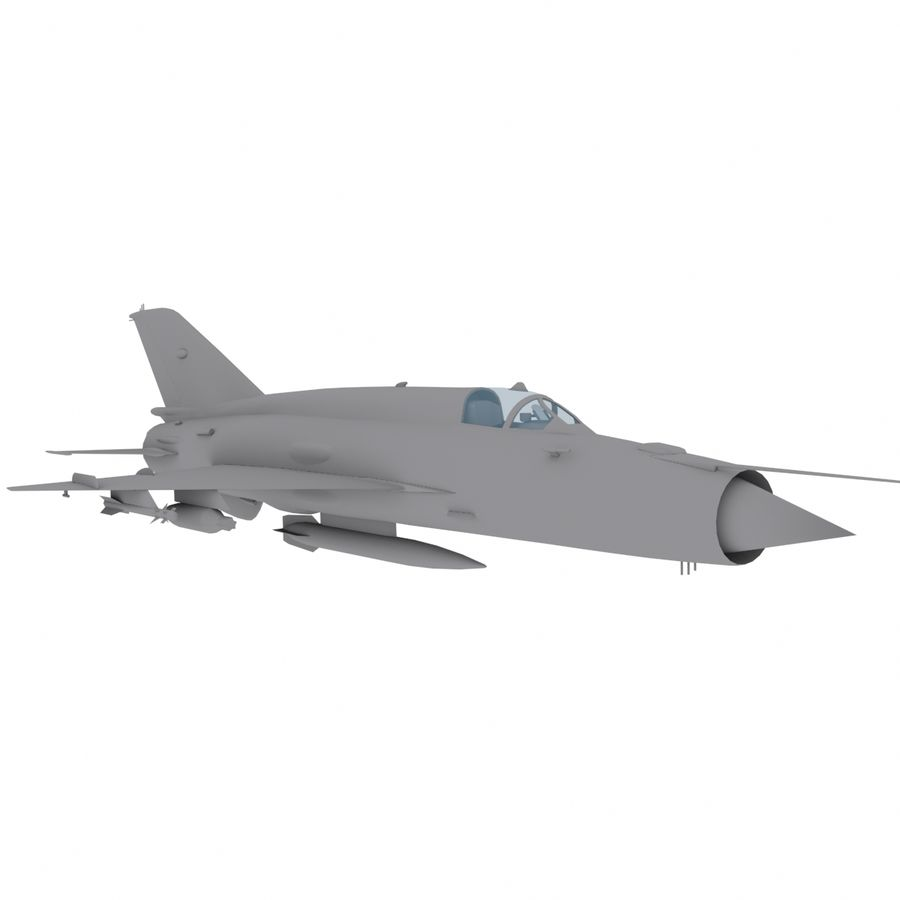 Mig21 Fishebed Soviet Fighter Game Model royalty-free 3d model - Preview no. 2