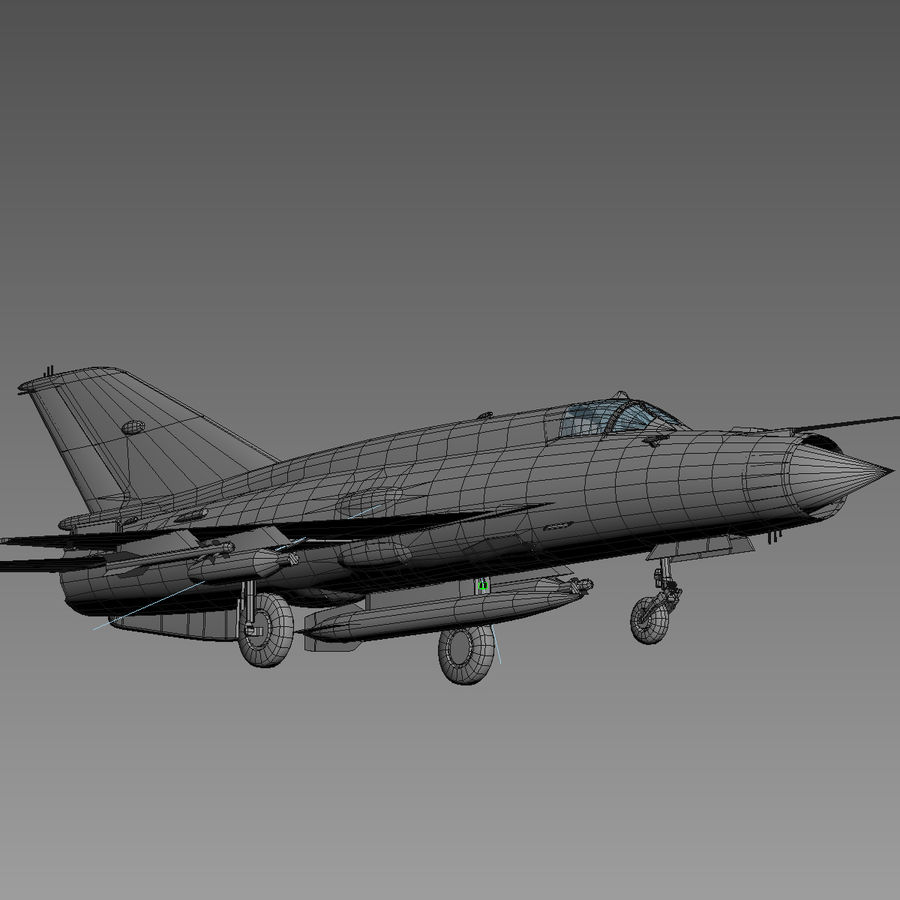 Mig21 Fishebed Soviet Fighter Game Model royalty-free 3d model - Preview no. 21