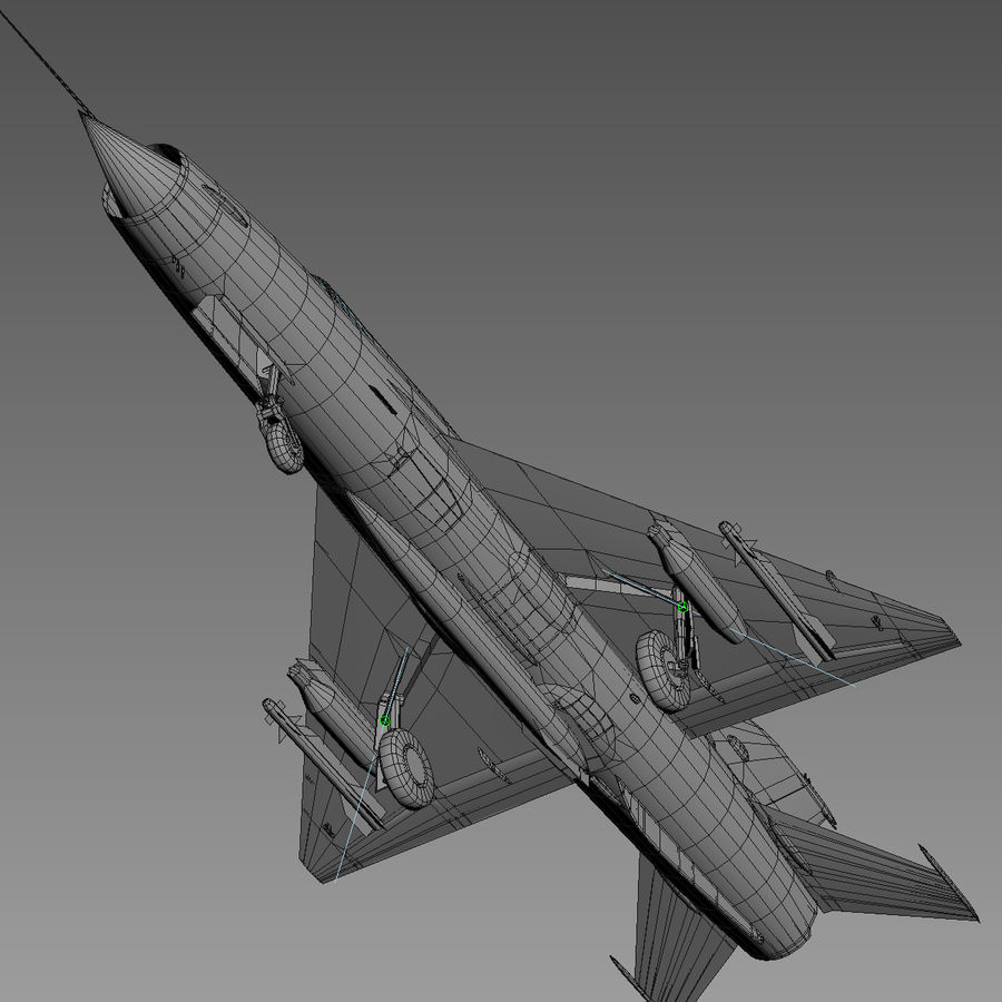 Mig21 Fishebed Soviet Fighter Game Model royalty-free 3d model - Preview no. 23