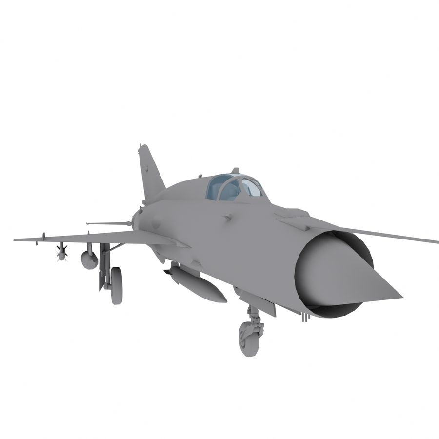 Mig21 Fishebed Soviet Fighter Game Model royalty-free 3d model - Preview no. 3
