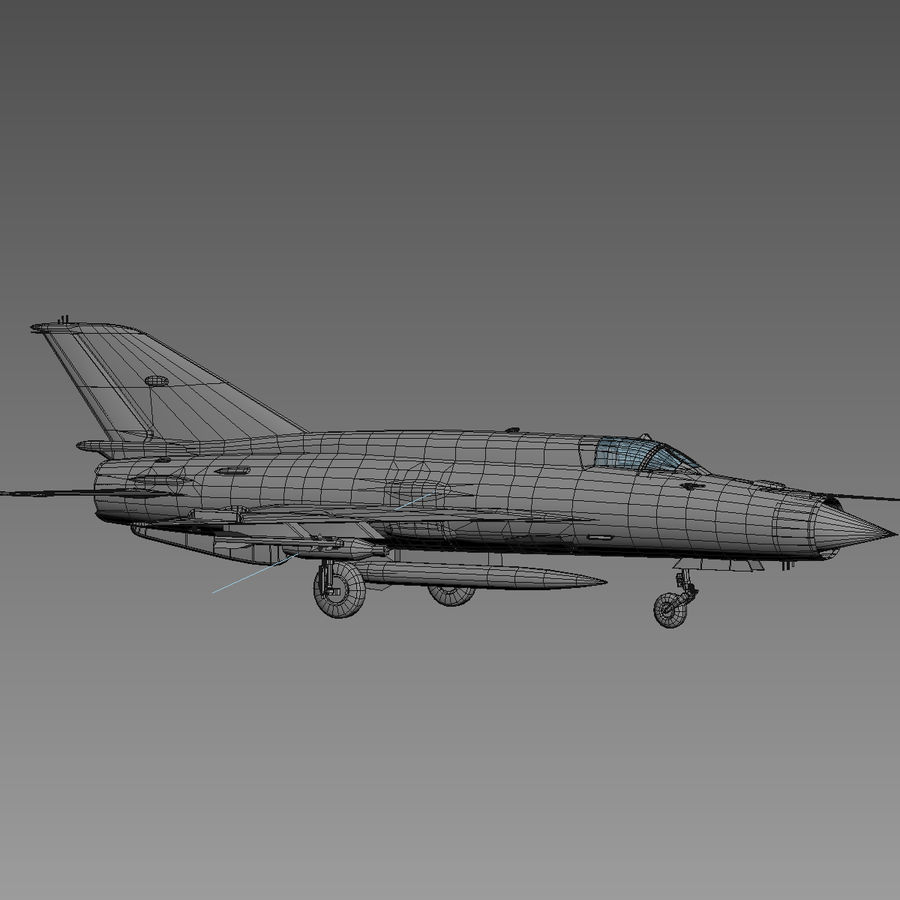 Mig21 Fishebed Soviet Fighter Game Model royalty-free 3d model - Preview no. 20