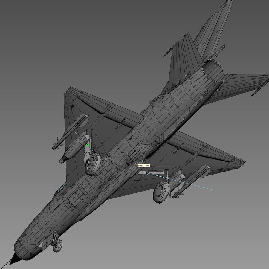 Mig21 Fishebed Soviet Fighter Game Model royalty-free 3d model - Preview no. 24
