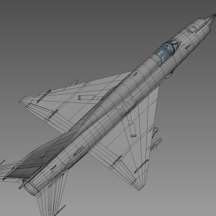 Mig21 Fishebed Soviet Fighter Game Model royalty-free 3d model - Preview no. 26