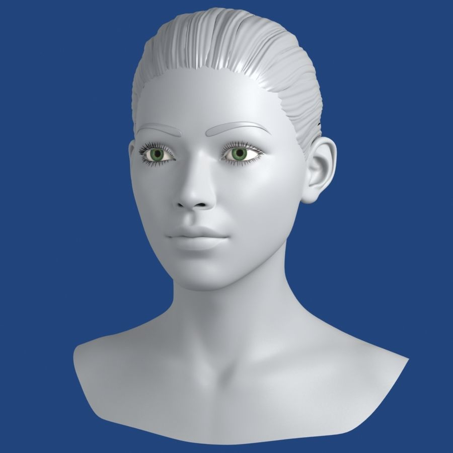 Woman Head 3D Model royalty-free 3d model - Preview no. 2
