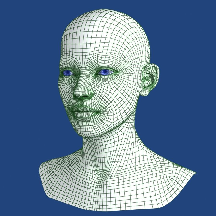 Woman Head 3D Model royalty-free 3d model - Preview no. 12