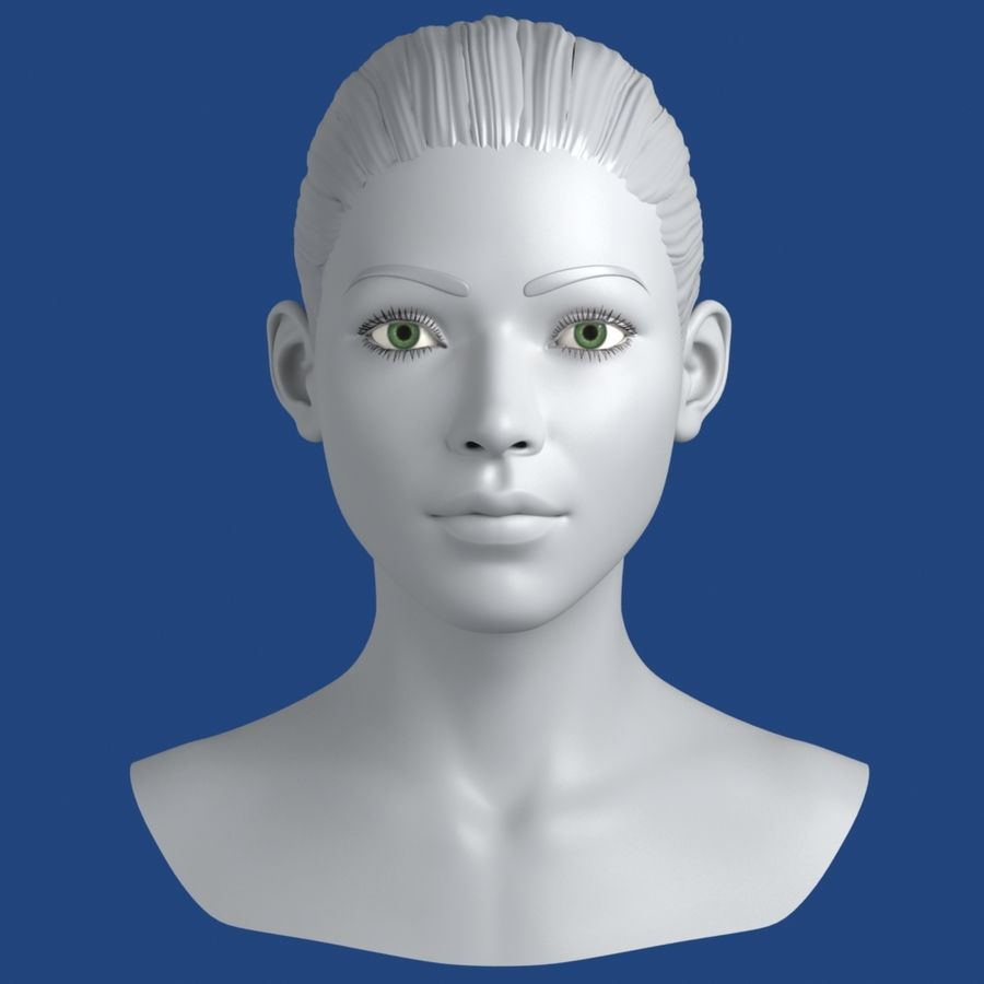 Woman Head 3D Model royalty-free 3d model - Preview no. 1