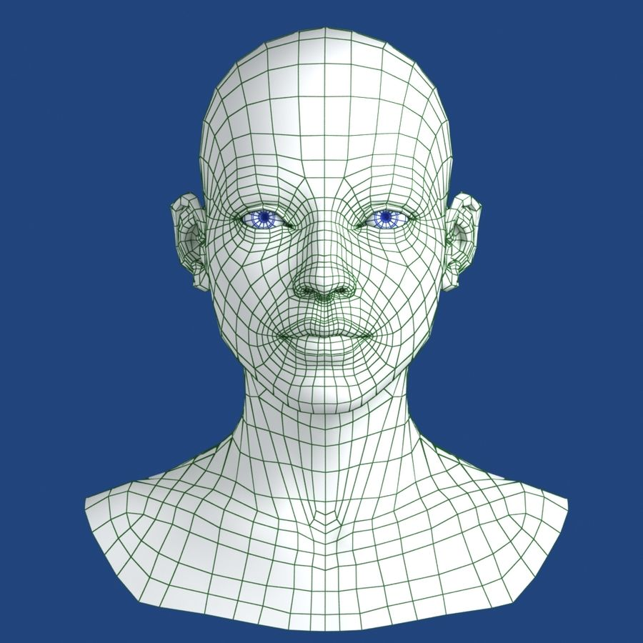 Woman Head 3D Model royalty-free 3d model - Preview no. 9