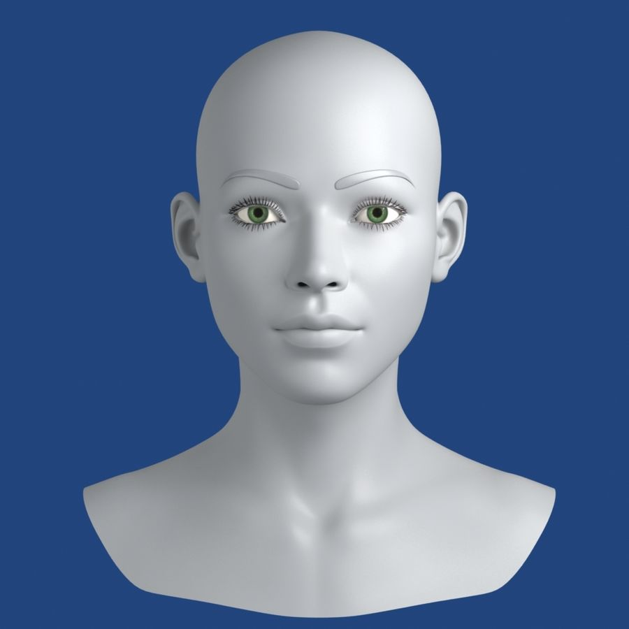 Woman Head 3D Model royalty-free 3d model - Preview no. 3