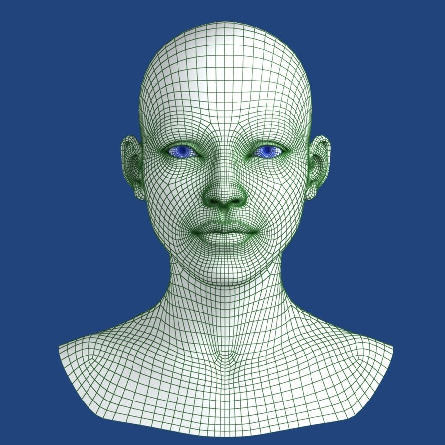 Woman Head 3D Model royalty-free 3d model - Preview no. 10
