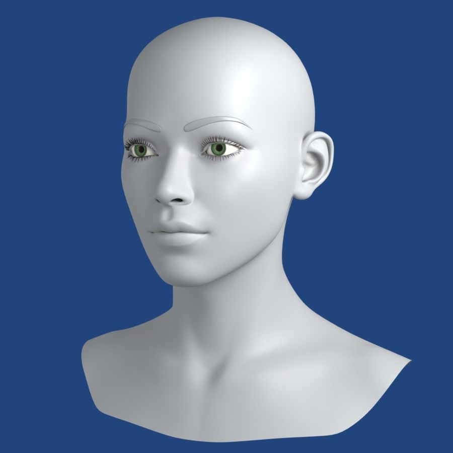 Woman Head 3D Model royalty-free 3d model - Preview no. 4