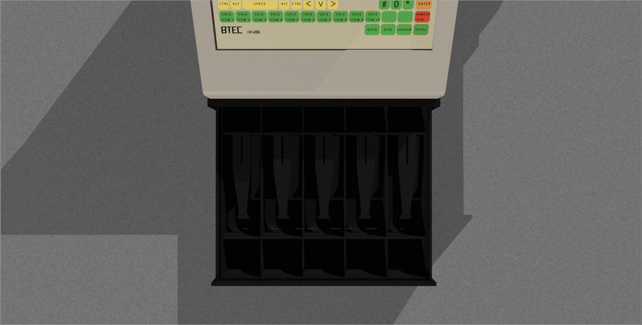 Cash Register With Opening Drawer royalty-free 3d model - Preview no. 14