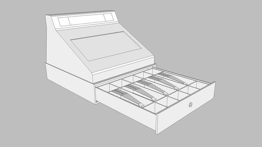Cash Register With Opening Drawer royalty-free 3d model - Preview no. 20