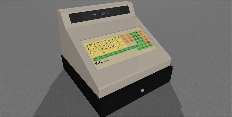 Cash Register With Opening Drawer royalty-free 3d model - Preview no. 9