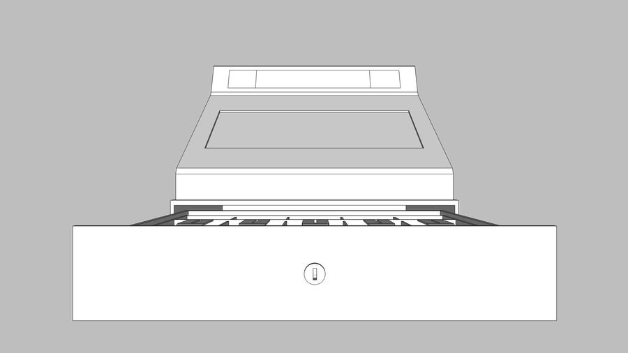 Cash Register With Opening Drawer royalty-free 3d model - Preview no. 18