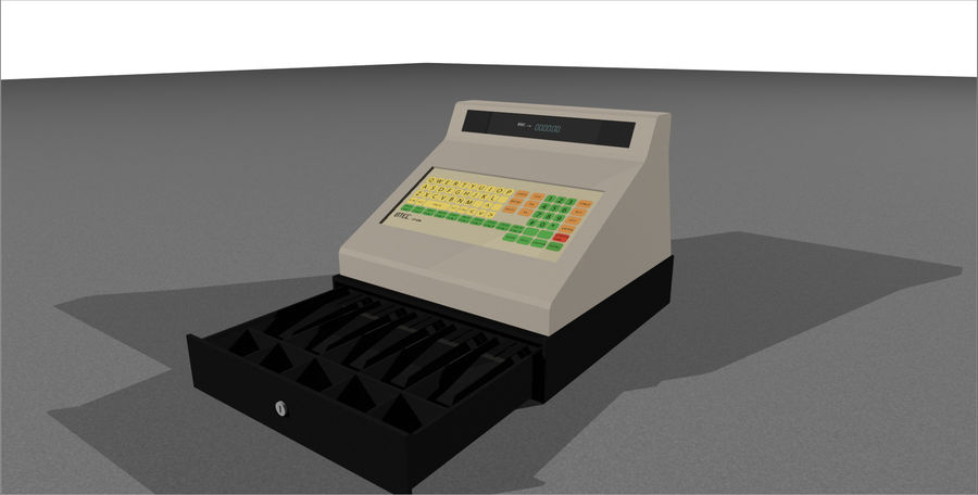 Cash Register With Opening Drawer royalty-free 3d model - Preview no. 3