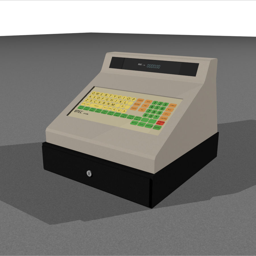 Cash Register With Opening Drawer royalty-free 3d model - Preview no. 1