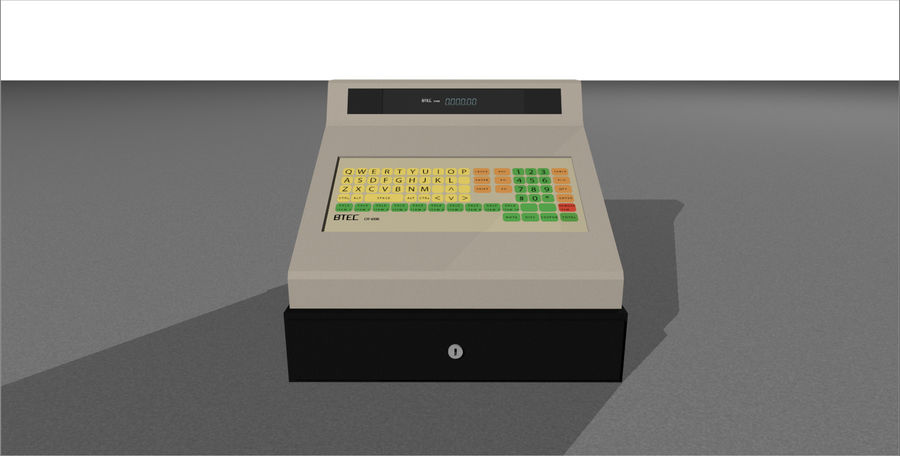 Cash Register With Opening Drawer royalty-free 3d model - Preview no. 4