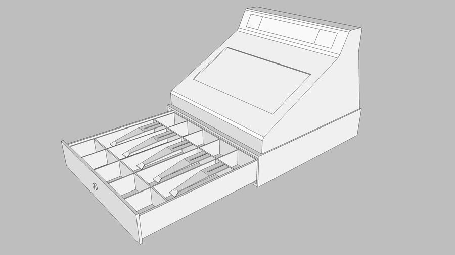 Cash Register With Opening Drawer royalty-free 3d model - Preview no. 15