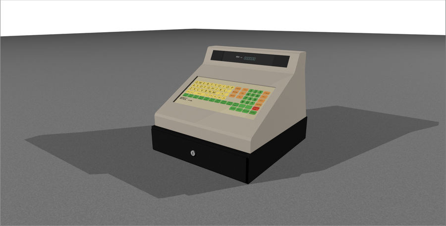 Cash Register With Opening Drawer royalty-free 3d model - Preview no. 2