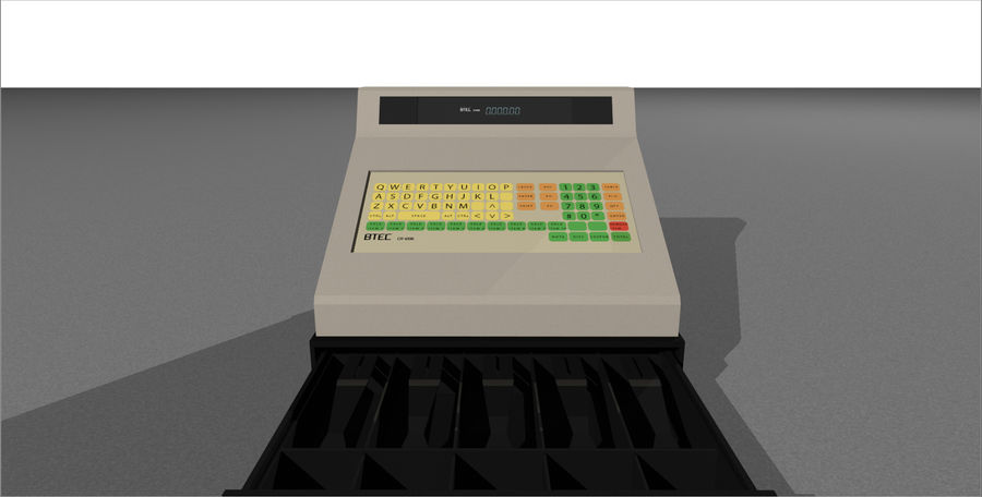 Cash Register With Opening Drawer royalty-free 3d model - Preview no. 5