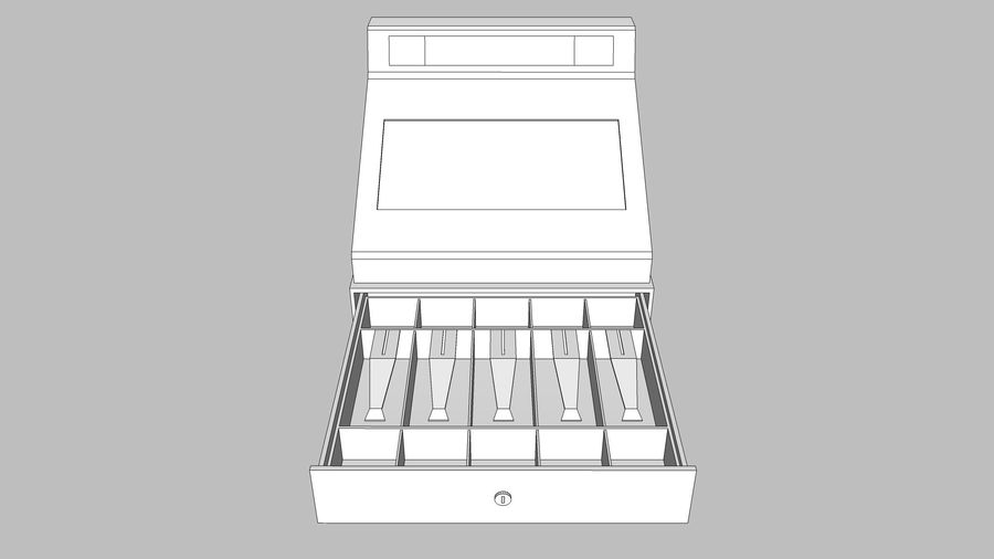 Cash Register With Opening Drawer royalty-free 3d model - Preview no. 16