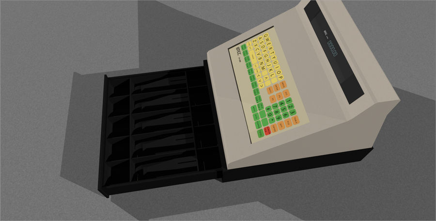 Cash Register With Opening Drawer royalty-free 3d model - Preview no. 7