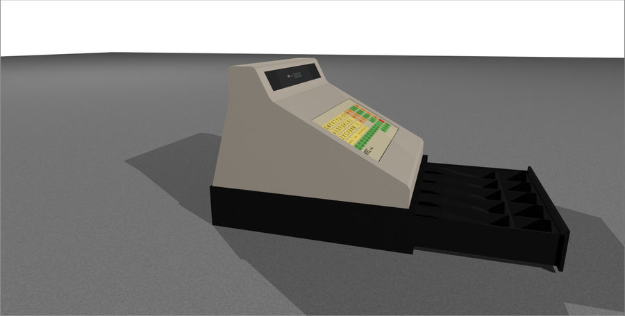 Cash Register With Opening Drawer royalty-free 3d model - Preview no. 11