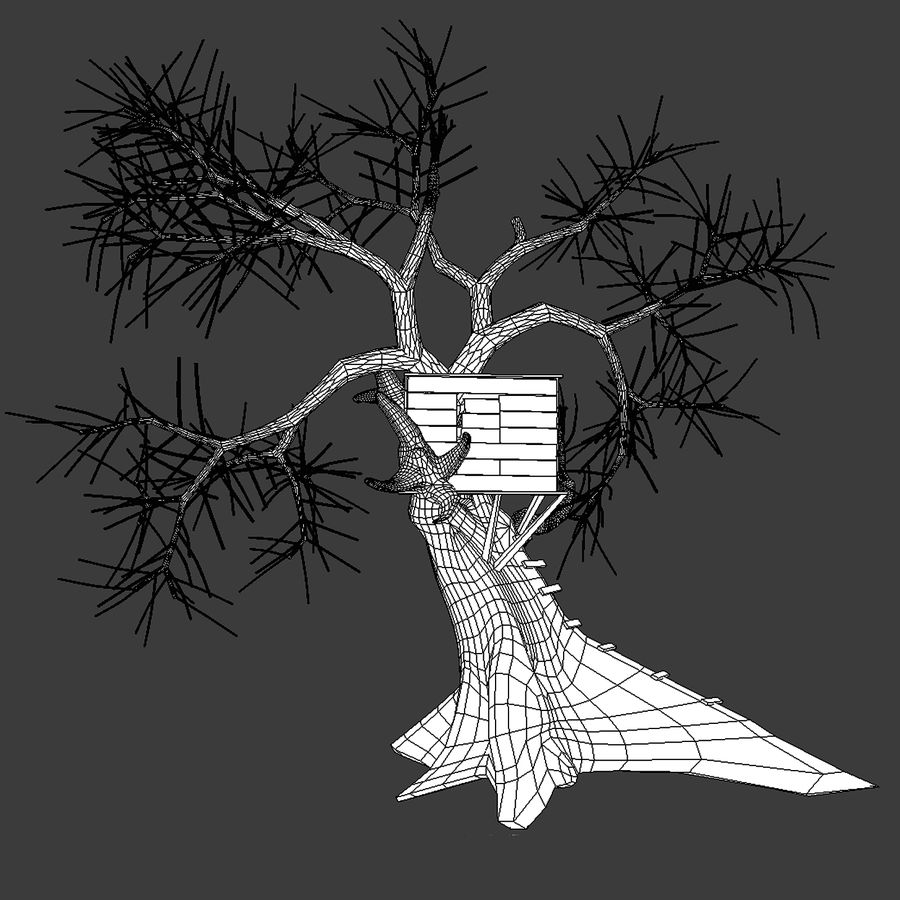 Domek na drzewie royalty-free 3d model - Preview no. 6