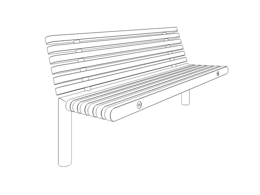 Bench YPSILON royalty-free 3d model - Preview no. 2