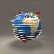 Электрическая вилка вокруг глобуса 3d model