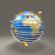 Cables Ethernet alrededor del globo modelo 3d