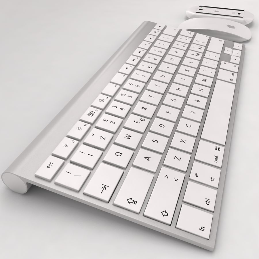 Mac Keyboard Mouse royalty-free 3d model - Preview no. 4