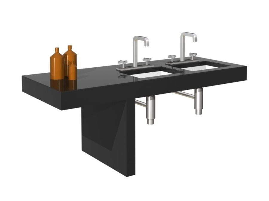 Axor 3 delikli lavabo bataryası royalty-free 3d model - Preview no. 2