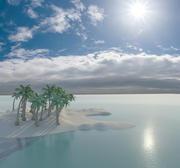 kreskówka wyspa niebo plaża palmy morze toon 3d model