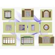 Conjunto de ventana modelo 3d